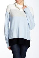Joan Vass Colorblock Wool Blend Turtleneck Sweater
