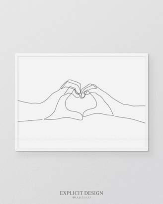 Hand Heart Printable, One Line Drawing Print, Love Hands Gesture Artwork, Finger Poster, Original Minimalist Couple Art, Minimal Fine Decor.