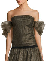 Necessary Objects Off-the-Shoulder Metallic Tulle Top