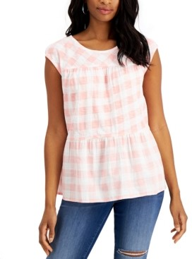 Style&Co. Style & Co Gingham Tiered Tank Top, Created for Macy's