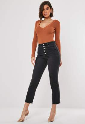 Missguided Black Wrath Exposed Button Fly Jeans