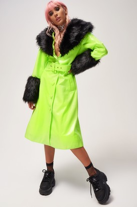Jaded London Womens **Green Neon Pu Coat With Faux Fur By Green