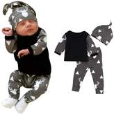 Susenstone Newborn Baby Clothes Deer Tops T-shirt+Pants Leggings 3pcs Outfits Set