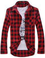 Bestgift Men's Long Sleeve Cotton Blended Plaid Shirt XL