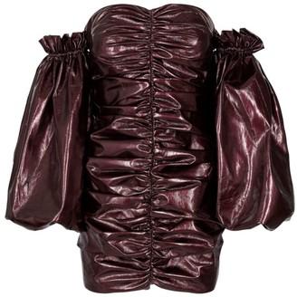 Rotate by Birger Christensen Phoebe Metallic Off-The-Shoulder Mini Dress