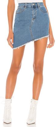 superdown Roxanna Asymmetric Denim Skirt. - size L (also