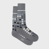 Paul Smith Men's Grey 'Falling Diamond' Socks