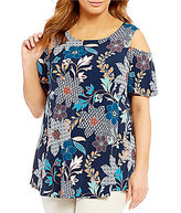 Bobeau Plus Short Sleeve Cold-Shoulder Printed Top