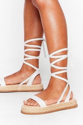 Nasty Gal Womens Lace Call It Even Faux Leather Woven Sandals - White - 4