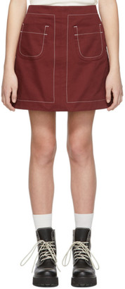MAISON KITSUNÉ Red Contrasted Topstitching Giulia Miniskirt