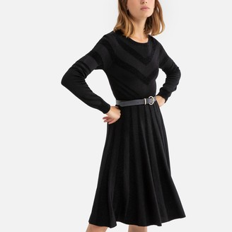 Derhy Printed Knee-Length Dress with Crew-Neck and Long Sleeves