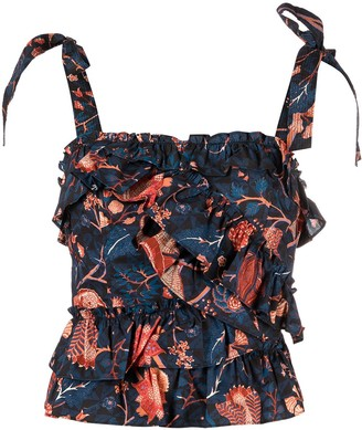 Ulla Johnson Floral Print Ruffle Top
