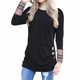 Toamen Women's Tops Womens Casual Tops Toamen Long Sleeve O Neck Botton Irregular Loose Tunic Pullover T Shirt Blouse Sweatshirt(Black 8)