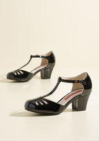 Shimmer Down Now T-Strap Heel in Black Gloss in 7.5