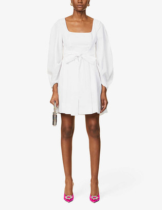 STAUD Isabella tie-belt cotton-poplin mini dress