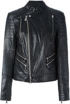 Polo Ralph Lauren zip up jacket - women - Lamb Skin/Cupro - S