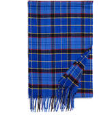 Johnstons of Elgin Blue Contemporary Tartan Merino Wool and Cashmere-Blend Scarf