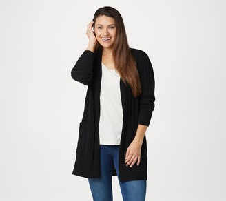 Denim & Co. Petite Chenille Open-Front Cable Cardigan