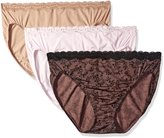 Olga Women's Without A Stitch Lace Hi-Cut Brief Panty Pack, Assorted/Grey/Pink Dot/Smoke Pearl/Black,8