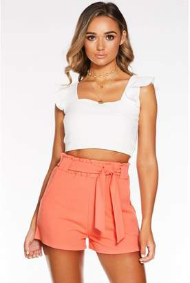 Quiz Coral Scuba Crepe Paperbag Shorts