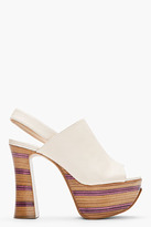 Chloé Nude Leather Slingback Platforms