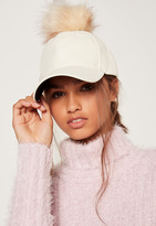 Missguided Faux Leather Pom Pom Hat Cream