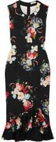 Erdem Louisa Floral-print Neoprene Dress - Black