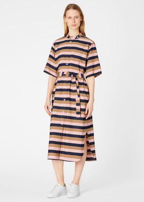 Paul Smith Women's Pink, Navy And Brown Stripe Shirt Dress