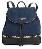 Karl Lagerfeld Paris Cara Denim Chain-Link Backpack