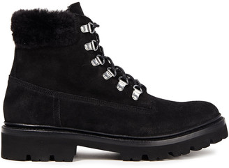 Grenson Brooke Shearling-lined Suede Combat Boots