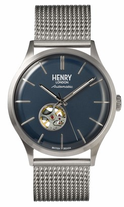 Henry London Mens Skeleton Automatic Watch with Stainless Steel Strap HL42-AM-0285
