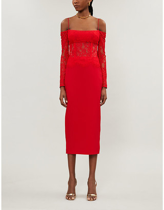 Rasario Off-the-shoulder lace-overlay crepe midi dress