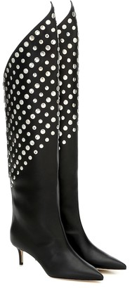 Christopher Kane Embellished leather knee-high boots