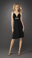 La Femme Ruched V-Neck A-line Dress 12764