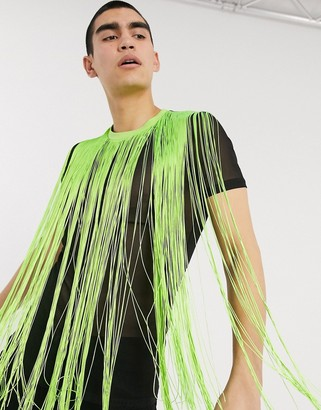 ASOS DESIGN festival skinny mesh t-shirt with neon fringing