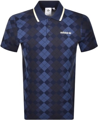 adidas Argyle Polo T Shirt Navy