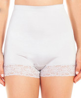 Ahh By Rhonda Shear Women's Underwear Silver - Silver Grey Lace-Trim Satin High-Waist Boyshort - Women & Plus