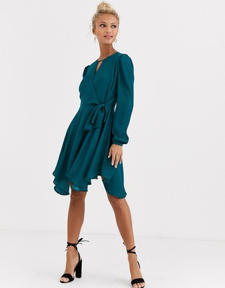 Forever New wrap tie mini dress in emerald green