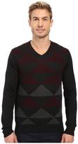Perry Ellis Diamond Color Block V-Neck Sweater