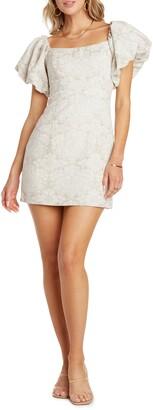 Willow Lucia Floral Convertible Puff Sleeve Cotton & Linen Minidress