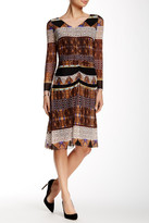 Nine West 10571282-X51 Printed Ruched Long Sleeves Dress