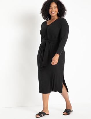 ELOQUII Tie Waist Midi Dress