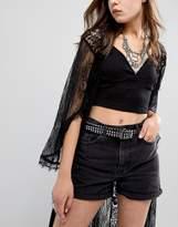 Glamorous Black Studded Skinny Western Belt