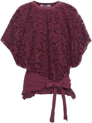 Valentino Tie-front Corded Lace And Stretch-jersey Top