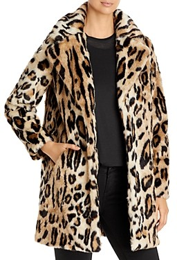 Apparis Lana Leopard Print Faux Fur Coat