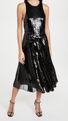 Tibi Eclair Sequin Beading Halter Dress