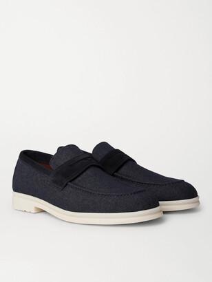 Loro Piana Summer City Walk Suede-Trimmed Wool-Blend Denim Loafers
