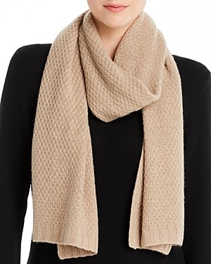 C by Bloomingdale's Waffle-Knit Cashmere Scarf - 100% Exclusive
