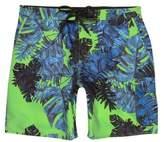 River Island Mens Green palm print swim shorts