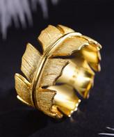 Lotus Fun Women's Rings Gold - Goldtone Sterling Silver Leaf Ring